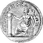 Pythagoras, dargestellt auf einer antiken Münze
